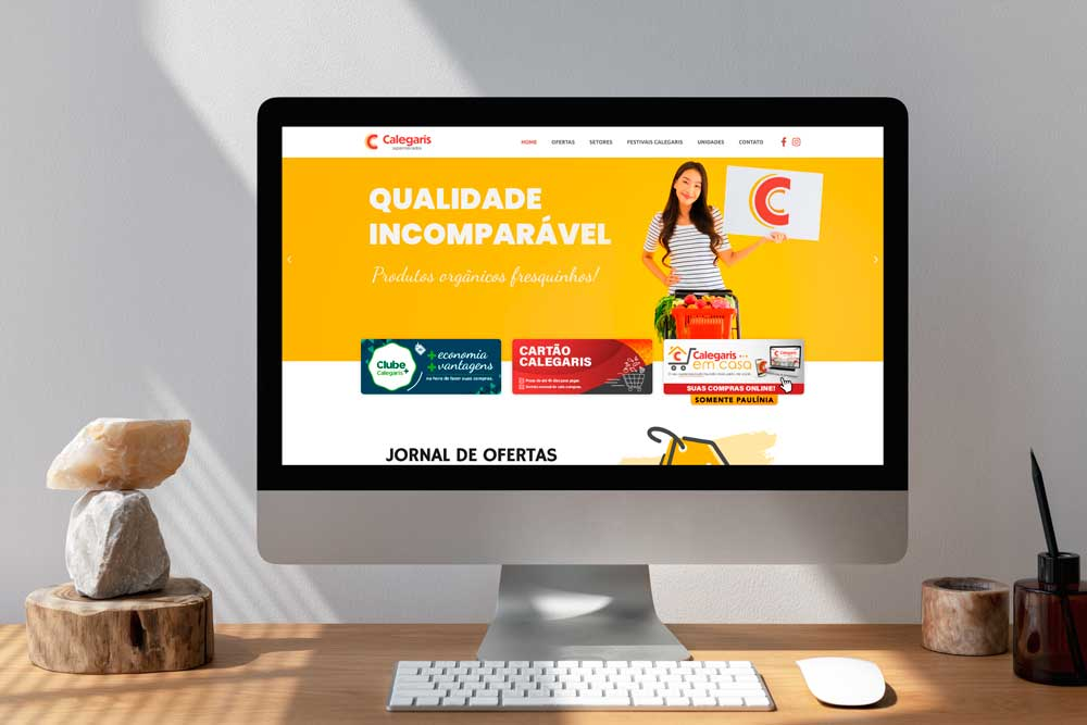 Criação de Site Supermercado Calegaris - Versão Desktop