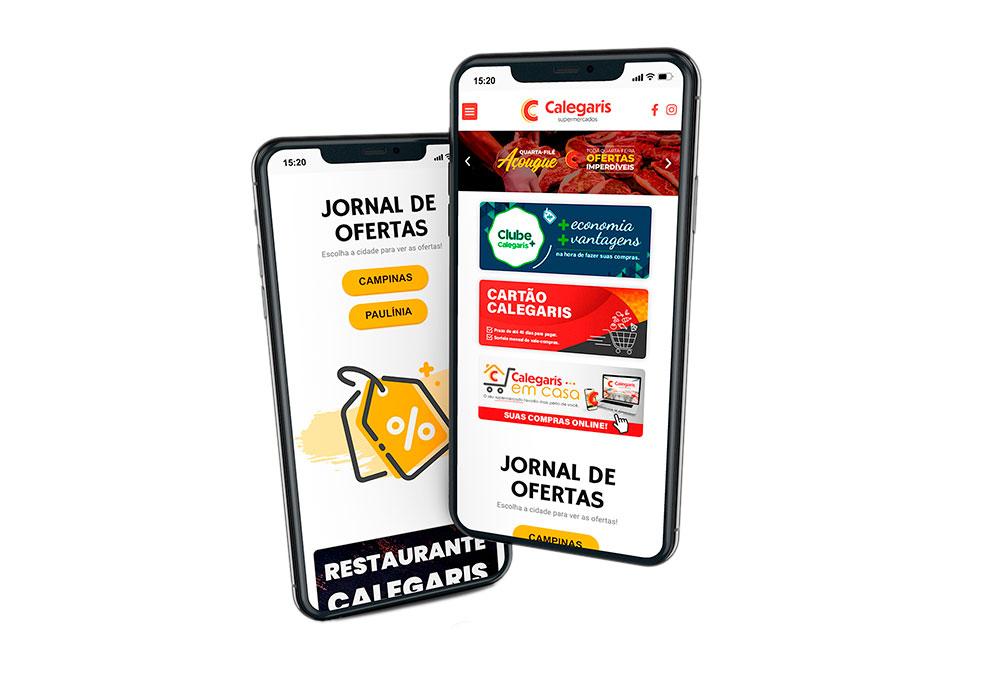 Criaçõ de Site Supermercado Calegaris - Versão mobile